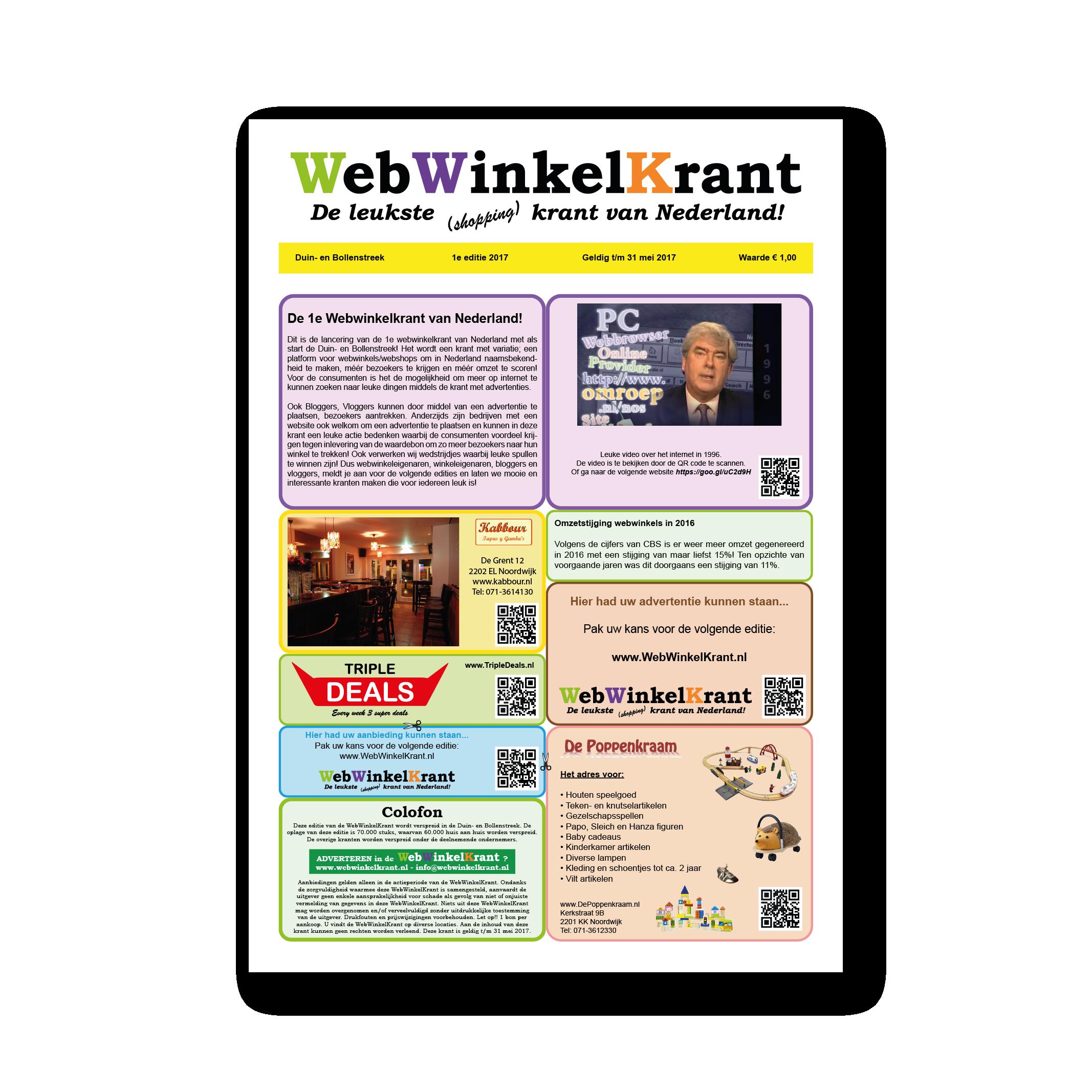 Afbeelding van de 1e editie van De Webwinkelkrant